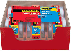 Scotch Heavy Duty Shipping Packaging Tape 6 Rolls With Dispenser Clear 1 88
