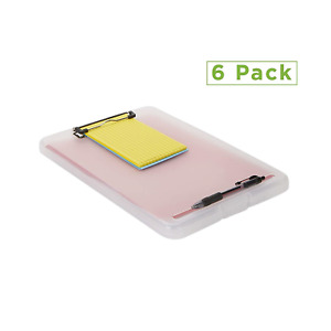 Mind Reader Clip6 clr Clipboard Plastic Letter Bottom Opening Storage Low Of