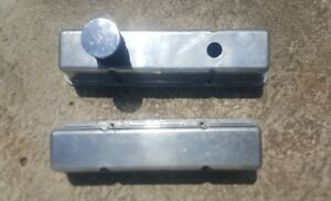 Sbc Chevy 350 283 307 Polished Cast Aluminum Valve Cover Tall Smooth 305 327 400
