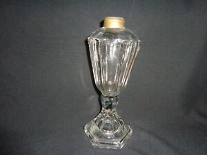 Antique Clear Pressed Glass Oil Lamp Base