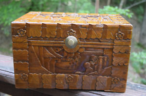 Vintage Wooden Chinese Carved Wooden Box Cedar