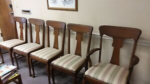 5 Antique Victorian Solid Oak Dining Chairs