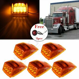 5x Cab Marker Roof Light 17 Led Amber For Kenworth Peterbilt 4x Red Round Lamp