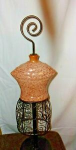 Tan Terracotta Ceramic Scroll Black Metal Table Top Mannequin Dress Form