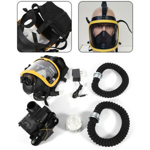 Electric Constant Flow Supplied Air Fed Respirator Full Face Dust proof Mask New