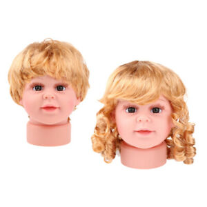 2pcs Baby Girl Boy Mannequin Manikin Head Wig Kid Glasses Hat Display S