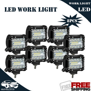 8x For Tractor Truck Driving Work Lamp 4 Led Pods Cube Light Mixed Lights