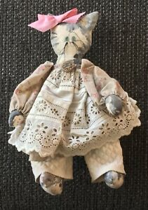 Handmade Primitive Cat Doll With Bloomers And Dress