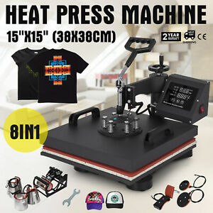 15 x15 8in1 Combo T shirt Heat Press Machine Sublimation Clamshell Diy Printer