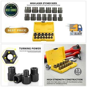 Bolt Nut Extractor Set 13 Pcs Remover Damaged Rusted Socket Impact Wrench Tools