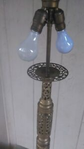 Vintage Moroccan Candle Stand Pierced Brass Pillar Floor Lamp 60 Tall X 11 Base