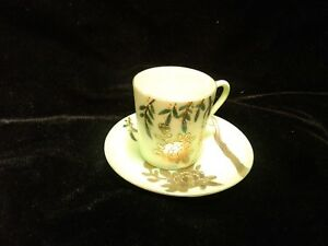 Takito Tea Cup Saucers 16 Pieces Tt Hand Painted Made In Japan Gold Light Green