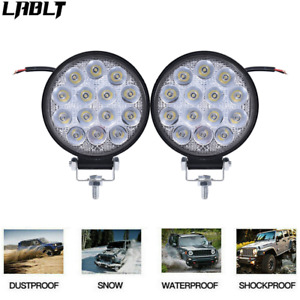 2x Led Flood Round Work Light Offroad Truck Car Suv Atv Driving Lamp 4 Inch 42w