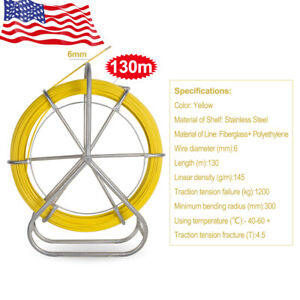 6mm 130m Fish Tape Fiberglass Wire Cable Running Rod Duct Rodder Fishtape New