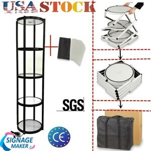 Usa 81 Round Portable Aluminum Spiral Tower Display Case top Light clear Panels