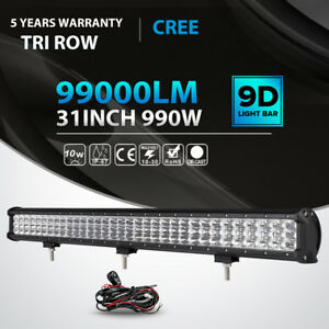 Tri Row 30 Inch 990w Led Light Bar Combo Offroad For Jeep Truck Vs 31 32 36