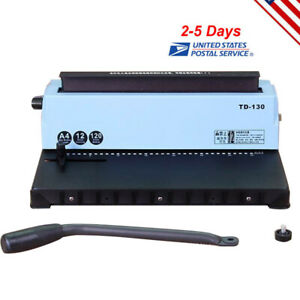 New 34 Holes Punching Binding Machine All Steel Metal Spiral Coil Binder Puncher