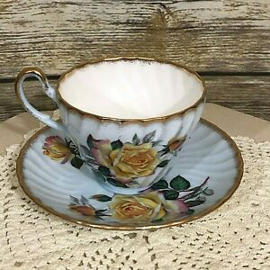 Vintage Foley Bone China Pale Blue With Yellow Roses Tea Cup Saucer