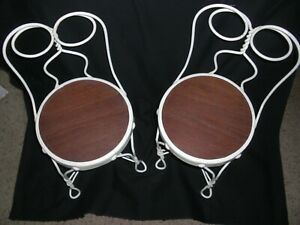 Pair Antique Twisted Heart White Wrought Iron Ice Cream Parlor Children S Chairs