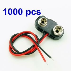 1000 Dc 9v 9 Volt Battery Clip Connector Snap On Straps T Type Hard Shell