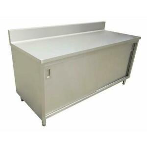 Commercial Stainless Steel Work Prep Table Cabinet 24 X 48 With 4 Backsplash