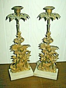 Vintage Pair Solid Brass Large Figural Candlesticks Young Girl Boy Marble Base