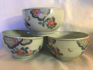Vintage Chinese Porcelain Bowl Hand Painted Flower Butterfly Marked Set 3 China