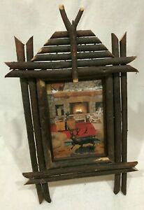 Antique Adirondack Wood Twig Folk Art Picture Frame Easel Back Fits 5 X 7 Photo