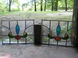 Antique Stained Glass Window Panels Leaded Matching Pair Architectural Salvage