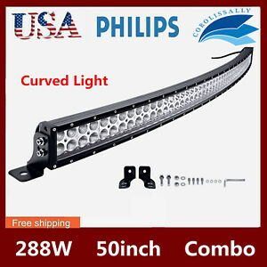 50inch 288w Led Curved Work Light Bar Spot Flood Driving Suv Off Road 4wd Pk 52