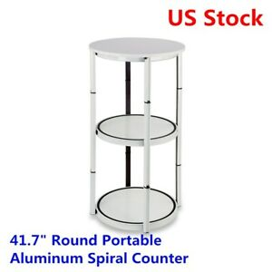 Us Stock 41 7 Round Portable Aluminum Spiral Counter Display Case Whit
