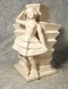 Awesome Vintage Art Deco Period Ceramic Vase W Girl In Dress