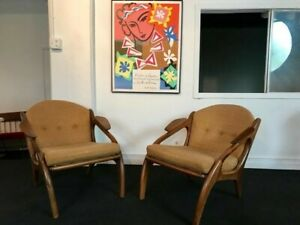 Mcm Pair Of Adrian Pearsall Craft Associates Lounge Chairs 2249 C