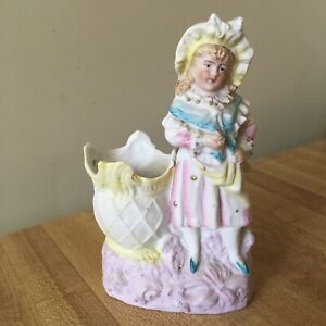 Vtg Antique Bisque Pastel Color Toothpick Holder Victorian Girl Wearing Bonnet