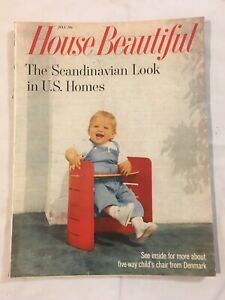 Vtg House Beautiful Magazine 1959 Scandinavian Danish Mid Century Modern D Cor