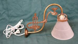 Antique Brass Converted Gas Wall Light Sconce Old Gilt Leaf Lamp Vintage Rococo