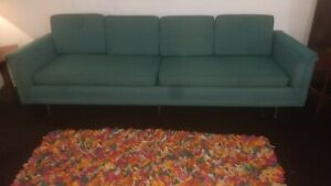 Mid Century Modern Turquoise Teal Sofa Couch 1950s 1960s Mad Men Hojos