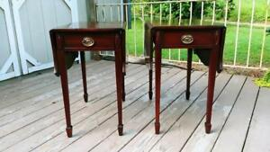 Antique Pair Stiehl Solid Mahogany Federal Drop Leaf Pembroke Tables W Drawer