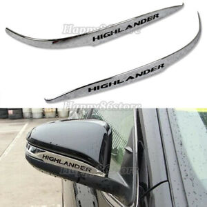 Fit Toyota Highlander 2015 2019 Chrome Abs Rear View Mirror Guard Cover Trim
