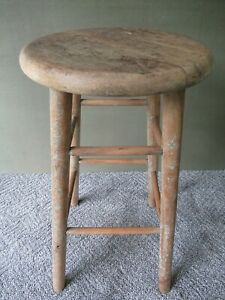 Vintage Stool Primitive Country Style Pine Wood 24 Tall 4 Leg Bench Table