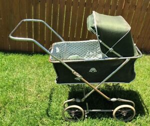 Vintage Stroller Carriage Hunter Green Vinyl Authentic Baby Pram England Lion