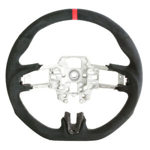 Flat Bottom Steering Wheel 15 16 17 Ford Mustang Black Alcantara W silver Stitch
