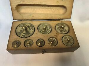 Apothecary Brass Balance Scale Weight Set Multiple Stamps 8 Graduated Weights