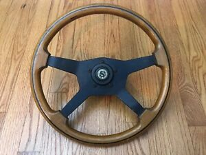 Vintage Dino Wood Wooden 4 Spoke Steering Wheel Made In Italy Complete