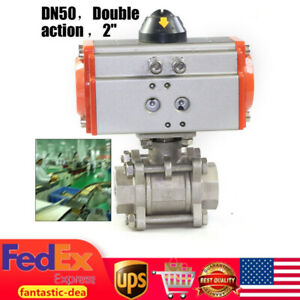 2 Acting Pneumatic Ball Valve Air Return Air Actuated Stainless 1000psi Dn50 Us