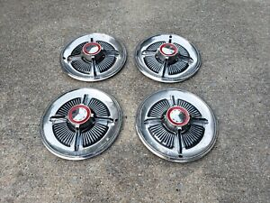 1965 Oem Set Of 4 Ford Galaxie Xl 500 Red Line Spinner Hubcap 15