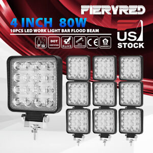 10pcs 4inch 80w Square Led Work Light Bar Flood Beam Offroad Driving Lights Pods
