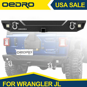 Oedro Rear Bumper For 2018 2020 Jeep Wrangler Jl W Hitch Receiver Led Lights
