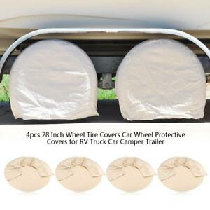 28 Inch Set Of 4 Rv Wheel Tire Covers For Auto Truck Car Camper Trailer Boat
