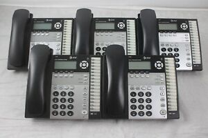 Lot Of 5 At t 1040 4 line Small Business System Phones W Stands Handsets